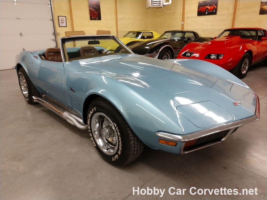 1972 Blue Corvette Convertible Tan Inteior For Sale (picture 1 of 6)