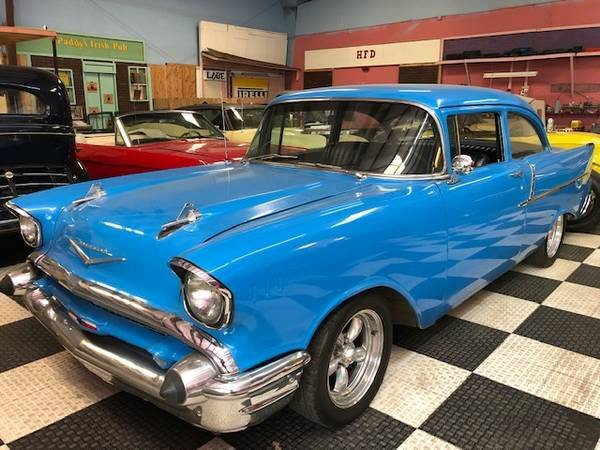 1957 Bel Air Series 150 HardTop = Restored Blue 350 Manual  For Sale (picture 1 of 6)