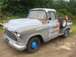 1957 chevrolet big back window v8 step side pickup For Sale