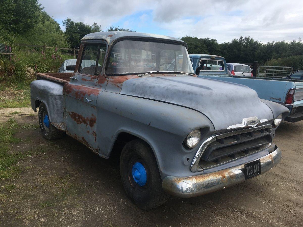 1957 chevrolet big back window v8 step side pickup For Sale (picture 3 of 6)