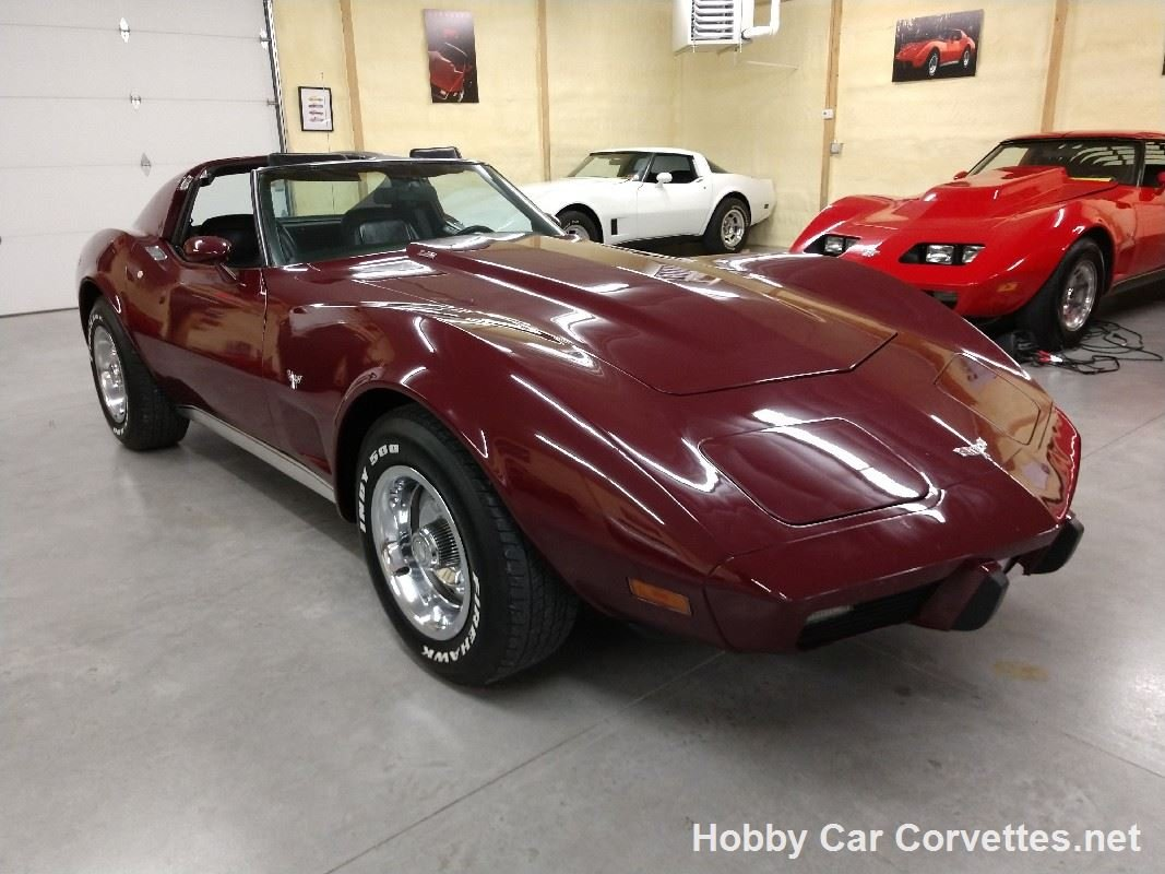 1977 Dark Red Corvette Black Interior L82 4spd For Sale (picture 3 of 6)