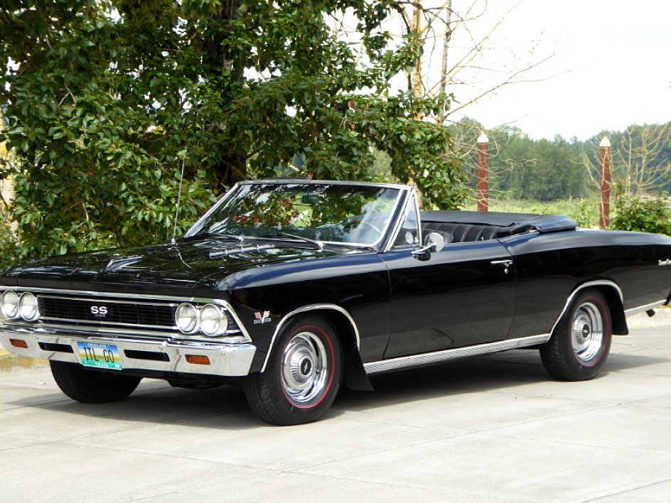 1966 Chevy Chevelle SS Convertible = 396 + Manual Black $69. For Sale (picture 1 of 6)