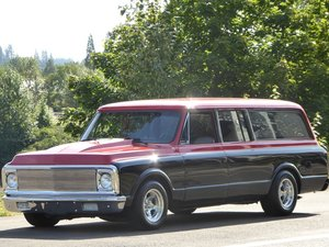 1972 Chevy Suburban SUV All Custom 396 Auto Red(~)Black For Sale