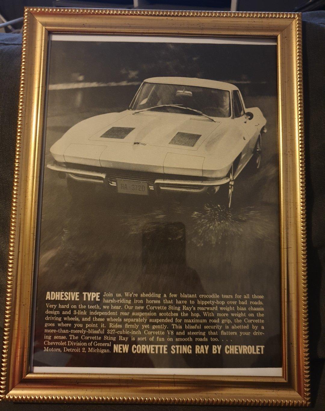 1963 Corvette Stingray Advert Original  For Sale (picture 1 of 2)