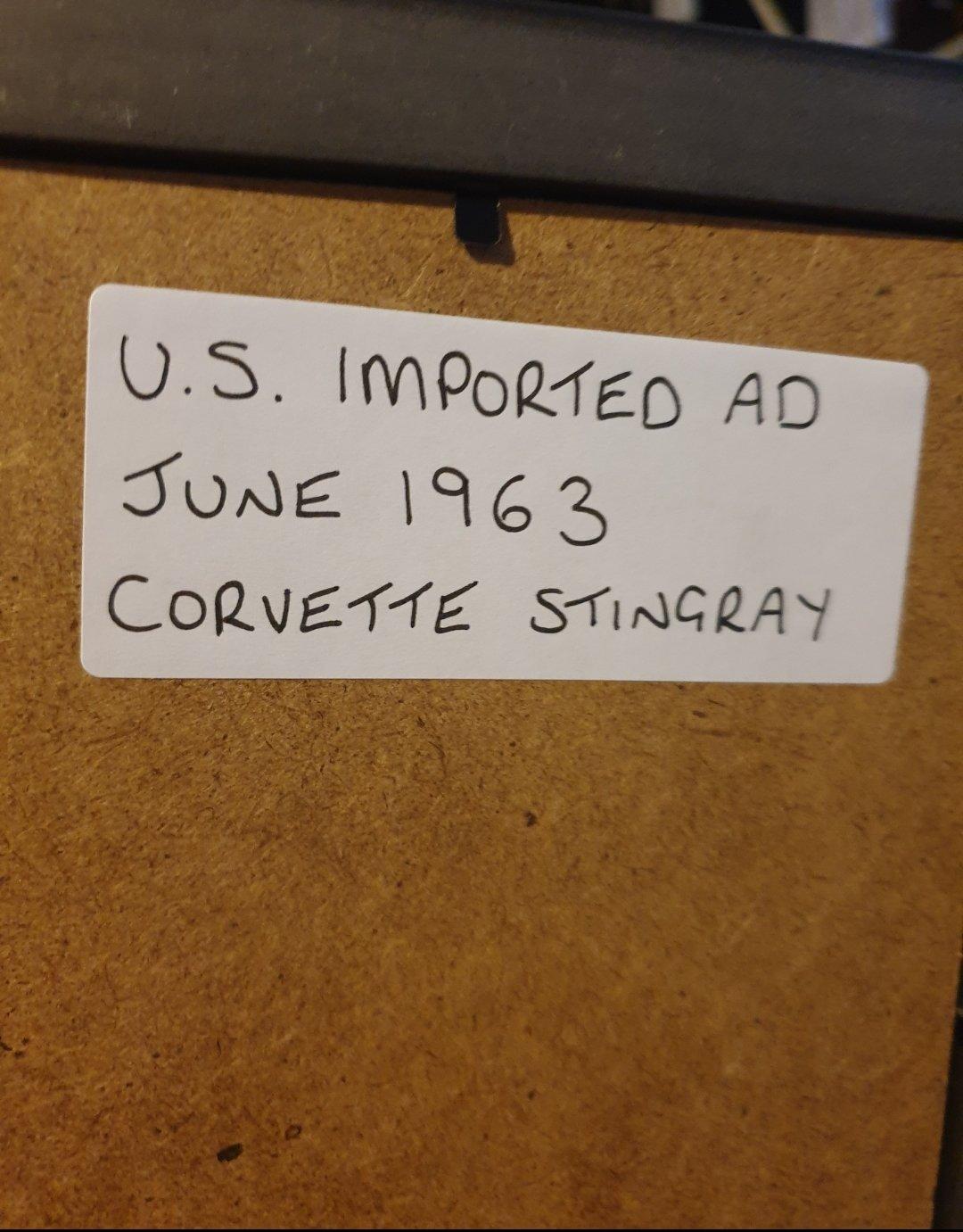 1963 Corvette Stingray Advert Original  For Sale (picture 2 of 2)