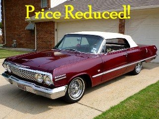 1963 Impala SS Convertible 327 Auto Power Top low miles $43.