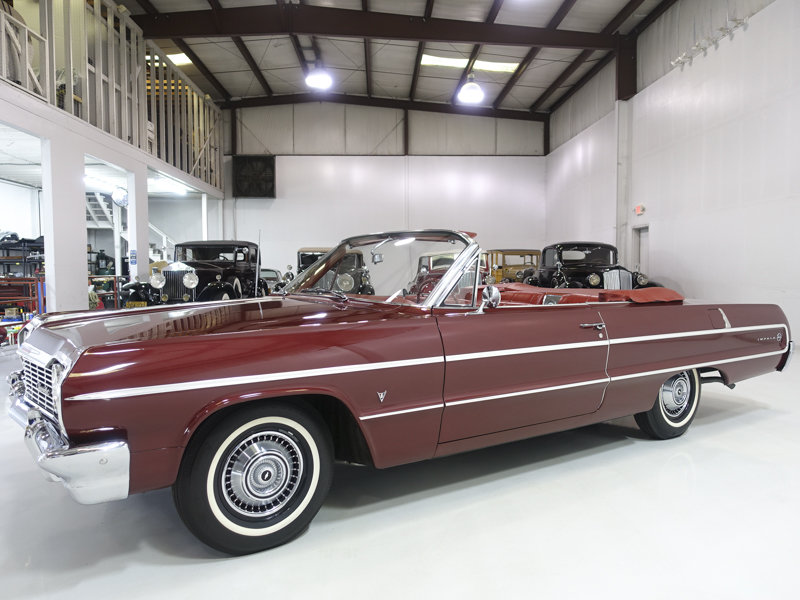 Palomer Red 1964 Chevrolet Impala V8 Convertible For Sale (picture 1 of 6)