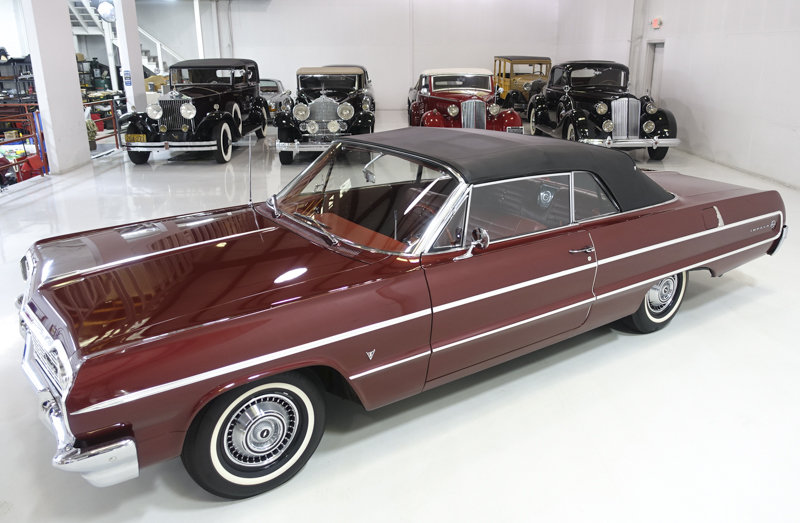 Palomer Red 1964 Chevrolet Impala V8 Convertible For Sale (picture 3 of 6)