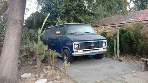 1976 Chevy Camper Van Blue Patina Drives  needs tlc  $4.5k