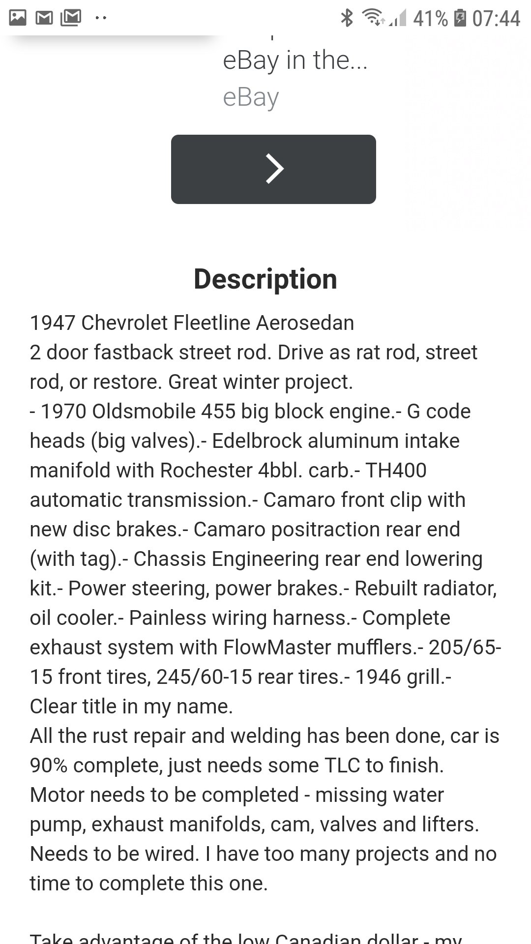1947 Chevy fleetline great project For Sale (picture 6 of 6)