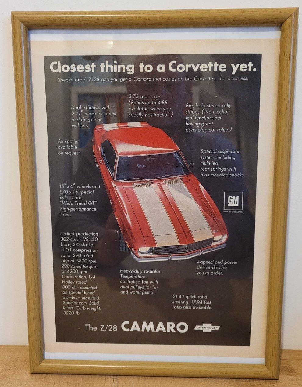 Original 1968 Chevrolet Camaro Framed Advert