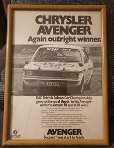 1976 Original Avenger Framed Advert