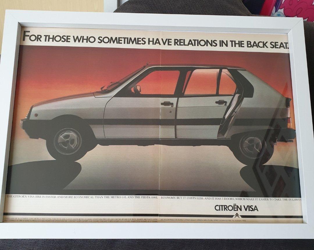 1983 Original Citroen Visa Framed Advert For Sale (picture 1 of 2)