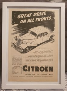 Original 1939 Citroen Traction Avant Framed Advert