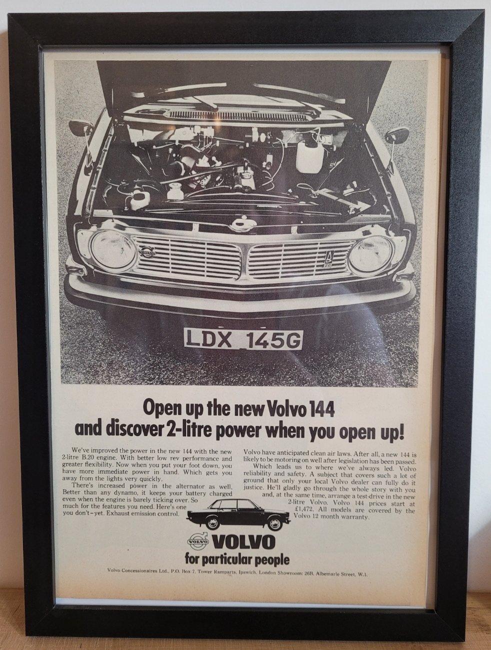 Original 1968 Volvo 144 Framed Advert