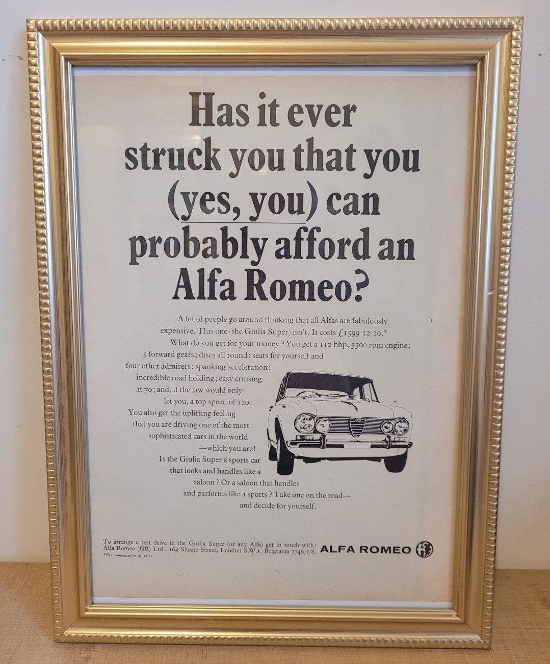Original 1967 Alfa Giulia Super Framed Advert