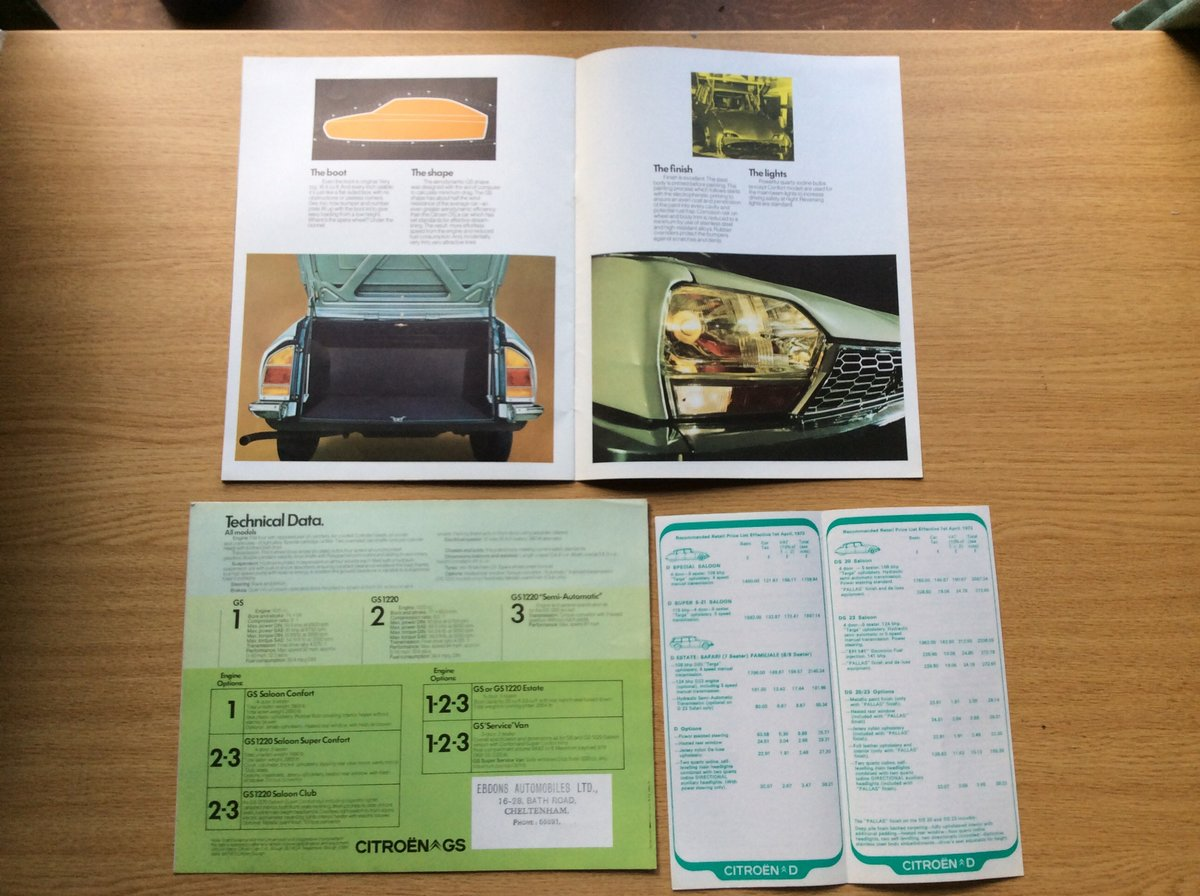 1973 Rare Citroen GS brochures For Sale (picture 3 of 3)