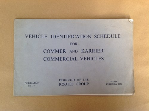 Commer & Karrier Vehicle Ident Schedule Book For Sale (picture 1 of 2)
