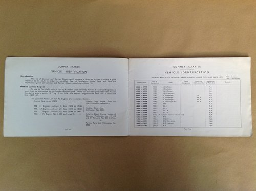 Commer & Karrier Vehicle Ident Schedule Book For Sale (picture 2 of 2)
