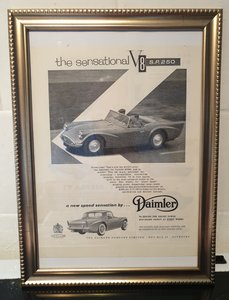 1960 Daimler SP250 Framed Advert Original