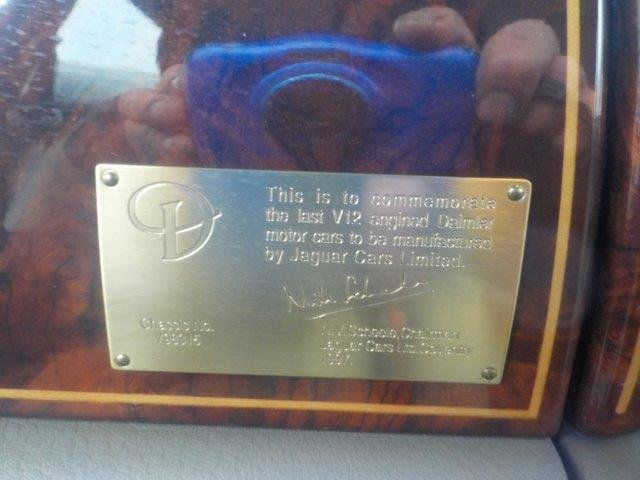 1997 Daimler Double Six Final Edition  Gold Plaque for last V12  For Sale (picture 1 of 6)
