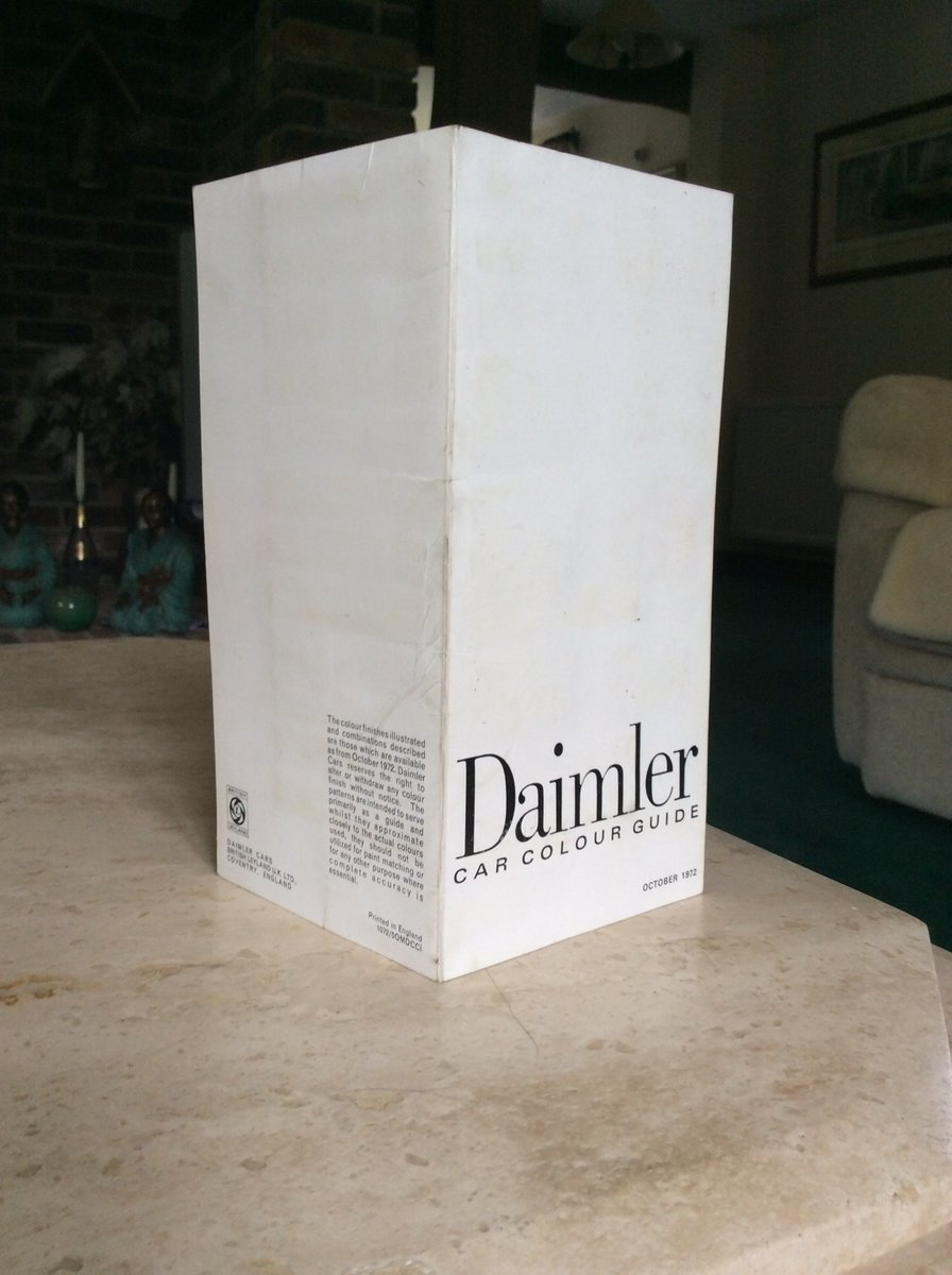 1972 Very rare daimler car colour guide For Sale (picture 4 of 5)