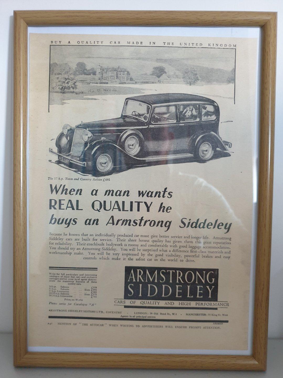 Original 1937 Armstrong-Siddeley Framed Advert