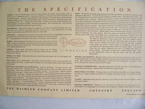 DAIMLER LIMOUSINE  PORTFOLIO 1963 For Sale (picture 3 of 6)