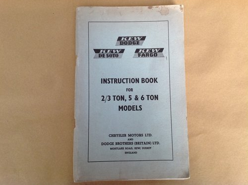 Dodge 2/3 5 & 6 Ton Truck Handbook  For Sale (picture 1 of 2)