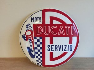 RARE DUCATI Sign Enamel Porcelain Service Dealer For Sale