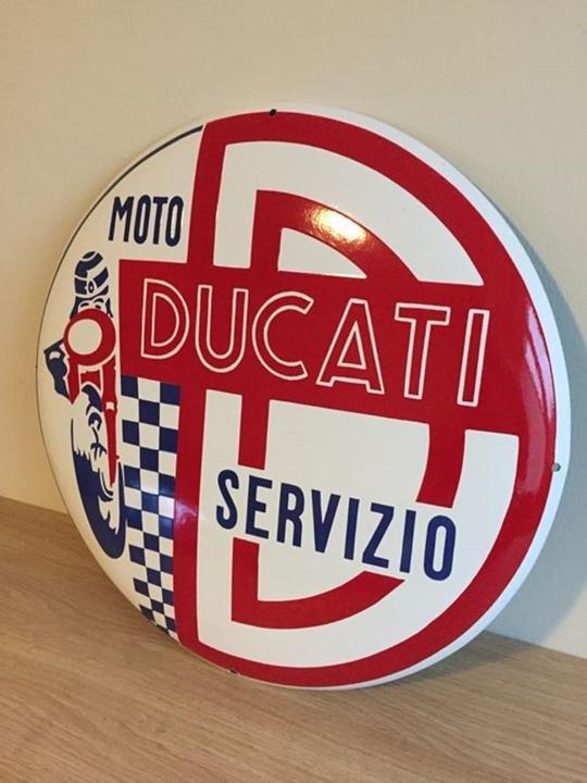 RARE DUCATI Sign Enamel Porcelain Service Dealer For Sale (picture 2 of 5)