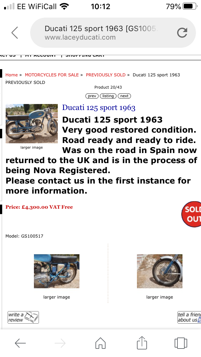 1963 Restored Ducati 125 Sport For Sale (picture 5 of 6)