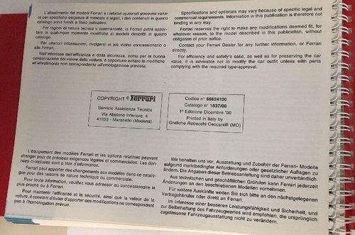 Ferrari 456M Owners manual (US version). For Sale (picture 2 of 3)