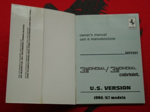 Ferrari 3.2 Mondial (US version) owner?s manual For Sale (picture 2 of 4)