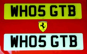 WHO5 GTB - FERRARI CHERISHED REGISTRATION NUMBER For Sale