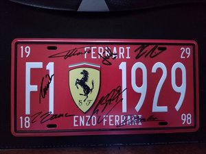 FERRARI F1 1929 ENZO Vintage Auto License Plate For Sale