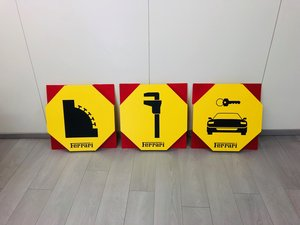 1980 Ferrari Garage Sign plastic 3 items For Sale