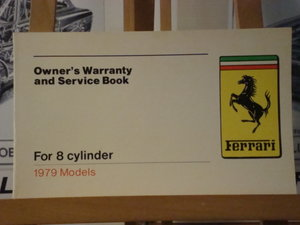 Ferrari Factory Original Warranty Book for 8 cylinder cars