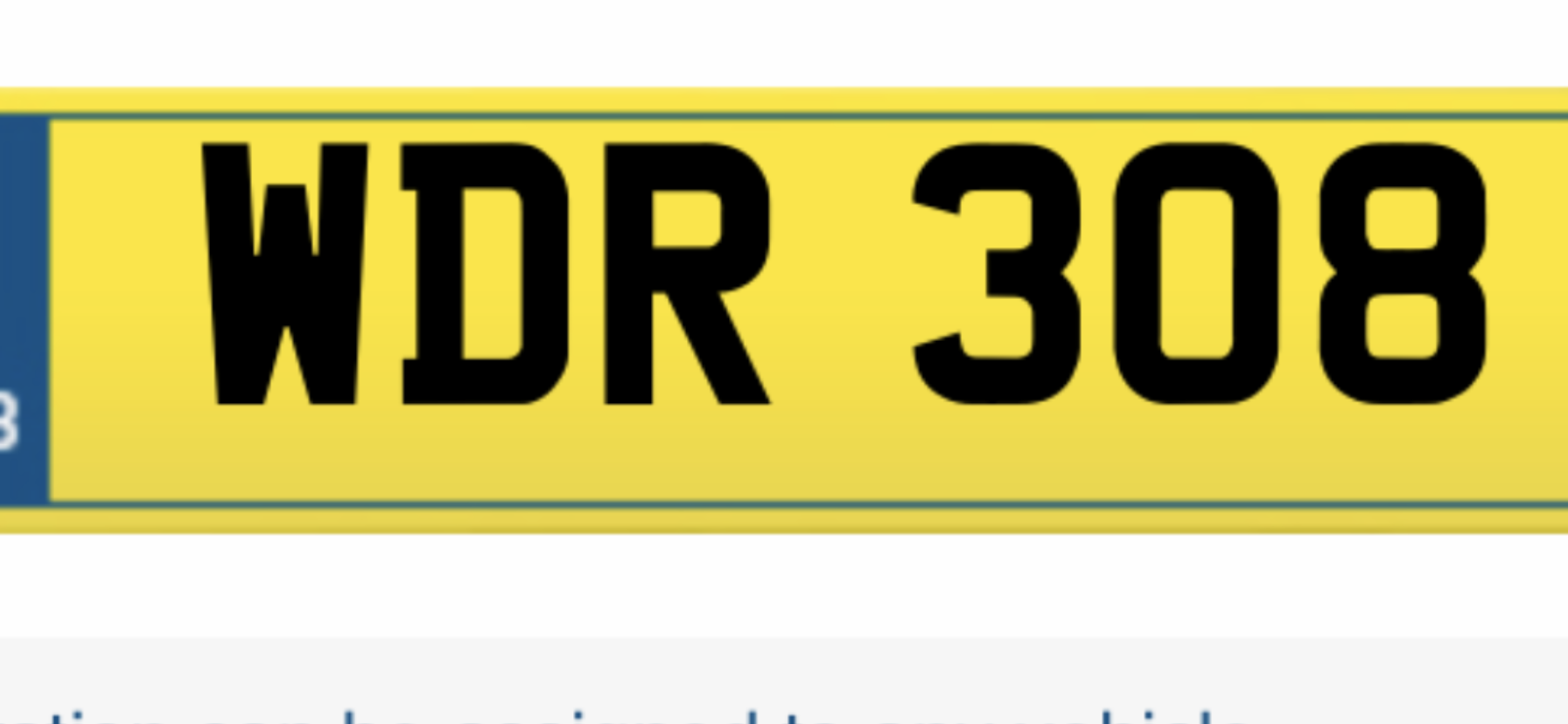 Wdr 308 number plate For Sale (picture 1 of 1)