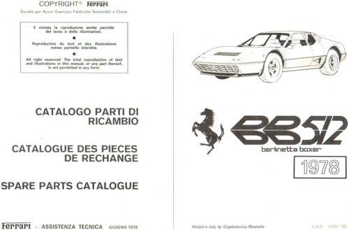 1978 Ferrari BB512 Spare Parts Catalogue For Sale (picture 2 of 3)