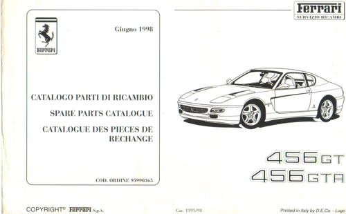 1998 Ferrari 456 GT/A Spare Parts Catalogue For Sale (picture 2 of 3)