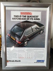 1984 Original  Strada Abarth Framed Advert