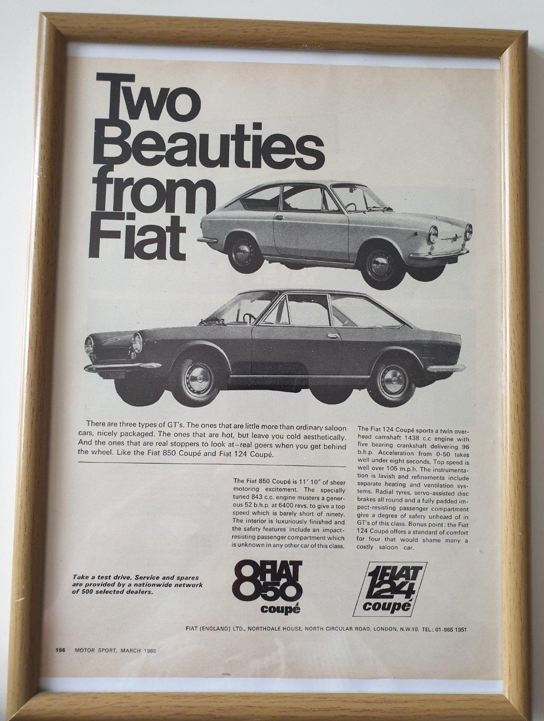 1968 Fiat Coupé advert Original  SOLD (picture 1 of 2)