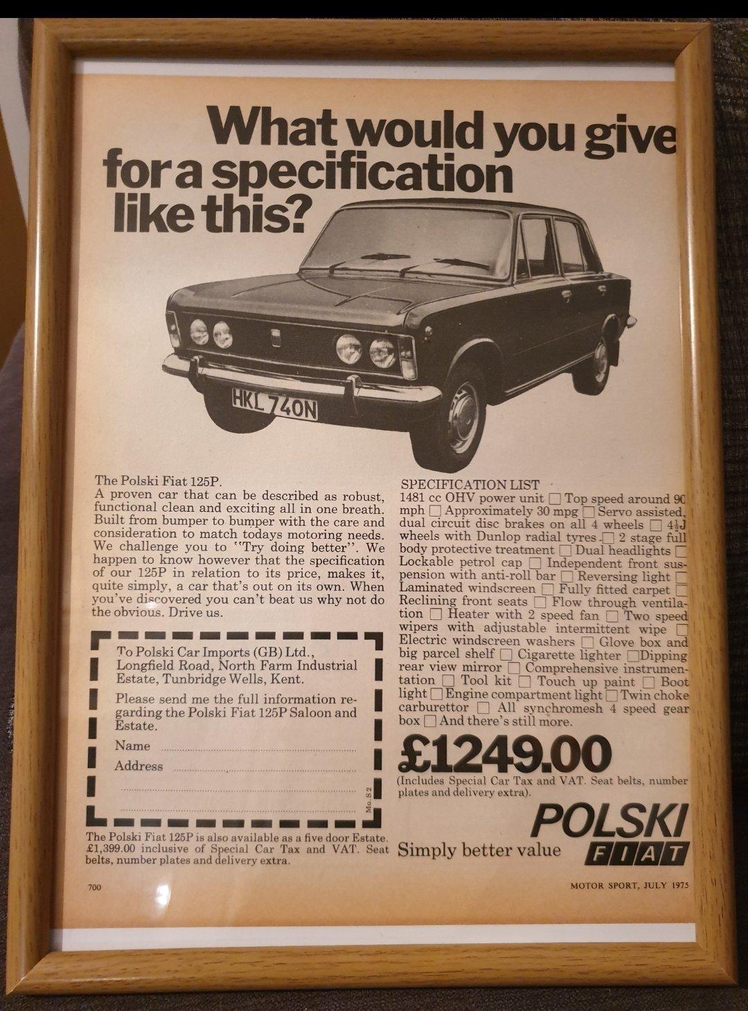 1975 Original Polski Fiat Advert For Sale (picture 1 of 2)