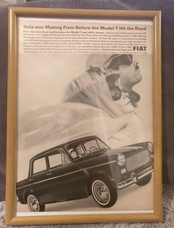 1965 Original Fiat 1100D Framed Advert For Sale (picture 1 of 2)