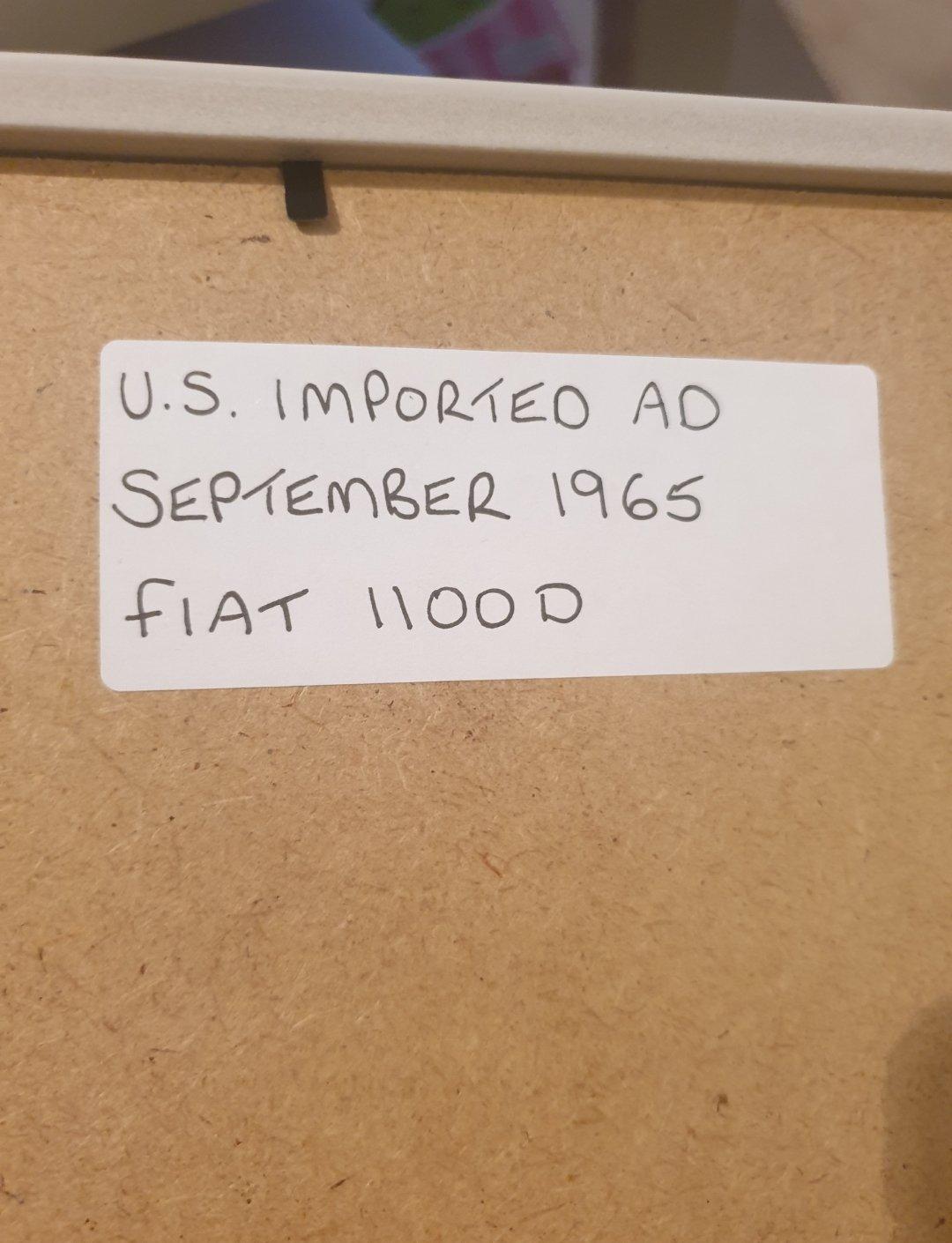 1965 Original Fiat 1100D Framed Advert For Sale (picture 2 of 2)