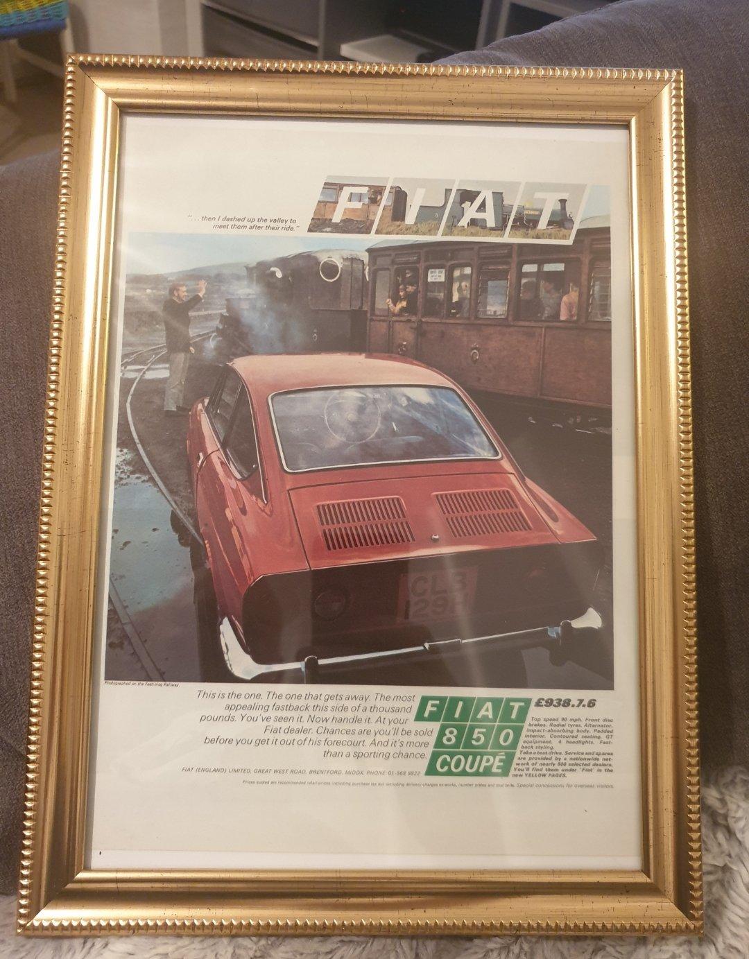 1970 Original Fiat 850 Coupé Advert For Sale (picture 1 of 2)