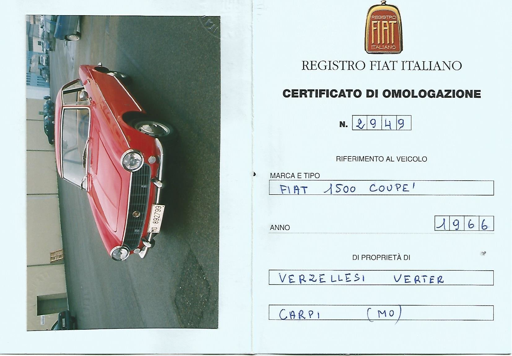 1966 FIAT 1500 COUPE' PININFARINA -3 OWNERS ONLY For Sale (picture 6 of 6)
