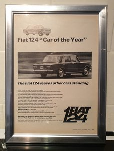 1967 Original Fiat 124 Framed Advert