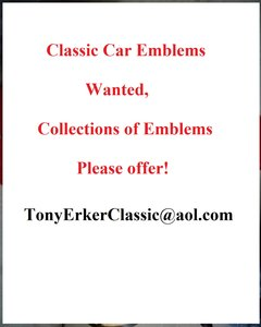 1960 Wanted Classic Car Badges, Suche Embleme klassischer Autos For Sale
